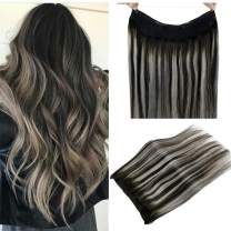 """LaaVoo 14"""" Invisible Halo Remy Human Hair Extensions Flip on Extension Balayage Ombre Off Black Fading to Gray Silver Natural Secret Hair 80g/Pack 11inch Width"""