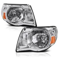 VIPMOTOZ Chrome Housing OE-Style Headlight Headlamp Assembly For 2005-2011 Toyota Tacoma Pickup Truck, Driver & Passenger Side