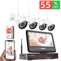 [2020 New] 1080P Security Camera System Wireless with Monitor 1TB Hard Drive,SAFEVANT 8 Channel Home NVR Systems 4pcs 960p Outdoor Indoor Surveillance Cameras with Night Vision Motion Detection