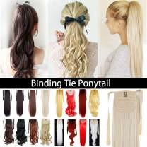 """Tie Up Ponytail One Piece Drawstring Pony Tail Extension Synthetic Heat Resistant Hairpiece Binding Ponytail Long Straight Curly For Black Women(22""""straight,Dark Brown Mix Ash Blonde)"""