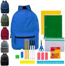 15 Inch Wholesale Backpacks in 6 Assorted Colors with 27 Piece School Supply Kits Bulk Case of 24 of Each