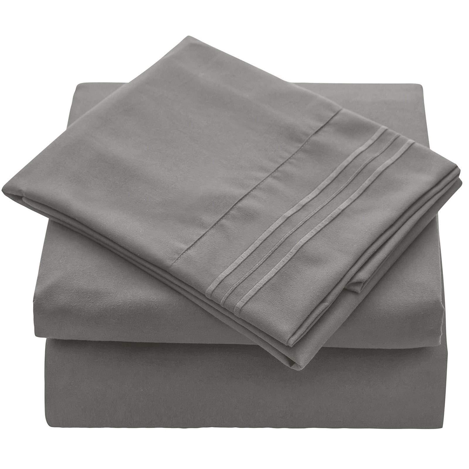 VEEYOO King Size Bed Sheet Set - 4 Piece Super Soft Brushed Microfiber 1800 Thread Count Hotel Luxury Sheets Set - Breathable, Wrinkle, Fade Resistant Deep Pocket Bedding Sheet Set, Silver