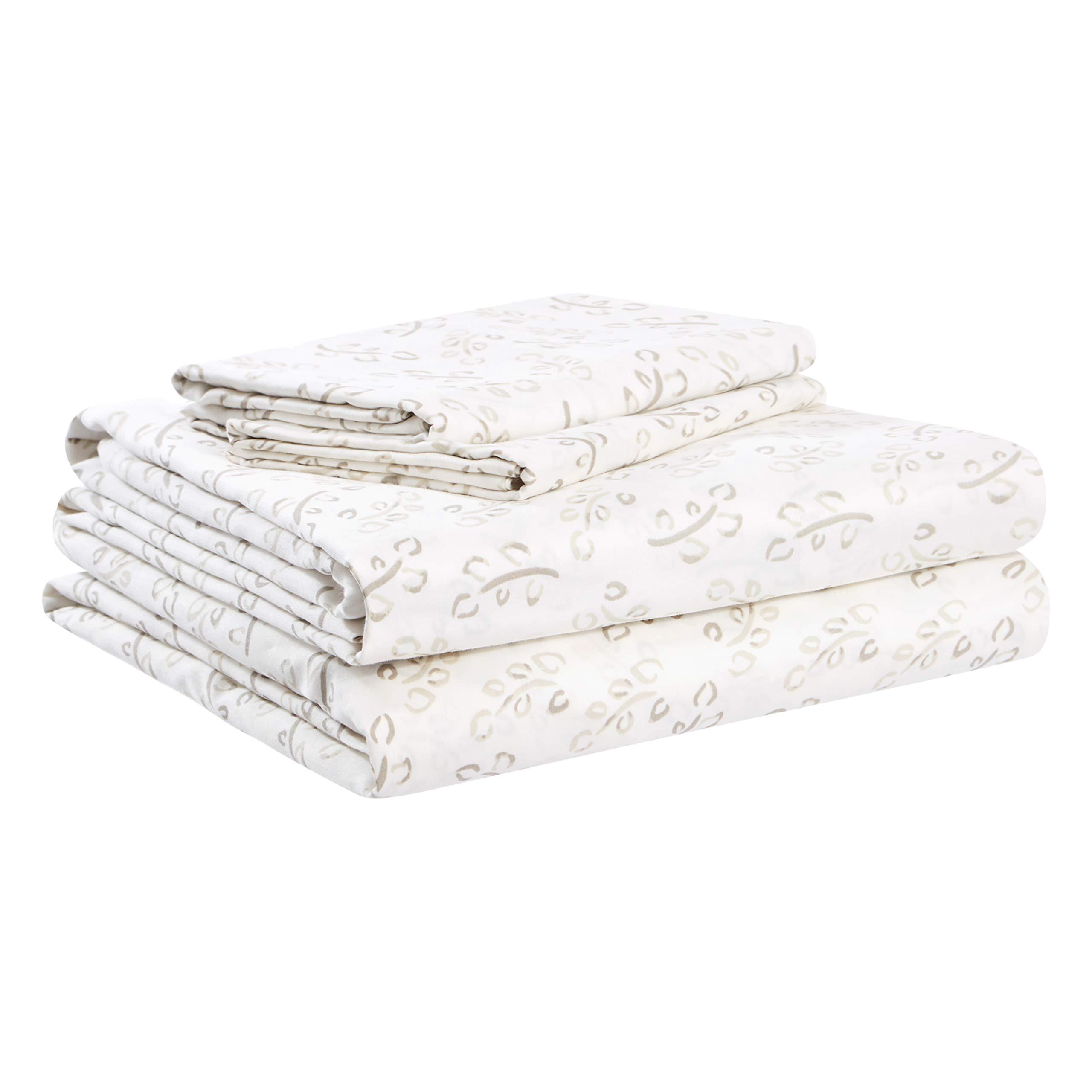 AmazonBasics Organic Sateen Cotton Sheet Set - Full, Watercolor Vine