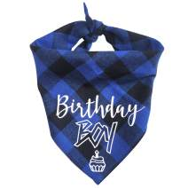 ZTON Triangle Dog Bandana Cowboy Style Reversible Bibs Scarf Washable and Adjustable Kerchief for Small and Medium-Sized Dogs Cats Pets (Birthday - Boy)