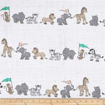 Shannon Fabrics Shannon Sweet Melody Designs Embrace Double Gauze Animal Parade Opal. Fabric By The Yard