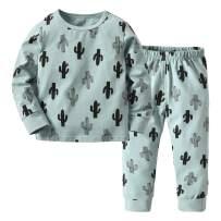 Toddler Baby Girls Boys Pullover Pajamas Cactus Print Sleepwear Pants Clothes Set