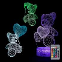 Bebamour Teddy Bear Toys for Kids 3D Night Light Bedside Lamp 7 Colors Changing with Remote Control Best Birthday Gifts for Girls Boys Baby Toddlers Age 1 2 3 4 5 6 7 8 9 10 Year Olds(Bear Lamp)