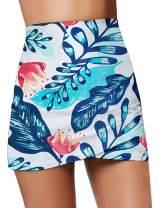 GRAPENT Women's High Waist Tulip Hem Shirring Swim Skirt Swimsuit Bikini Bottom