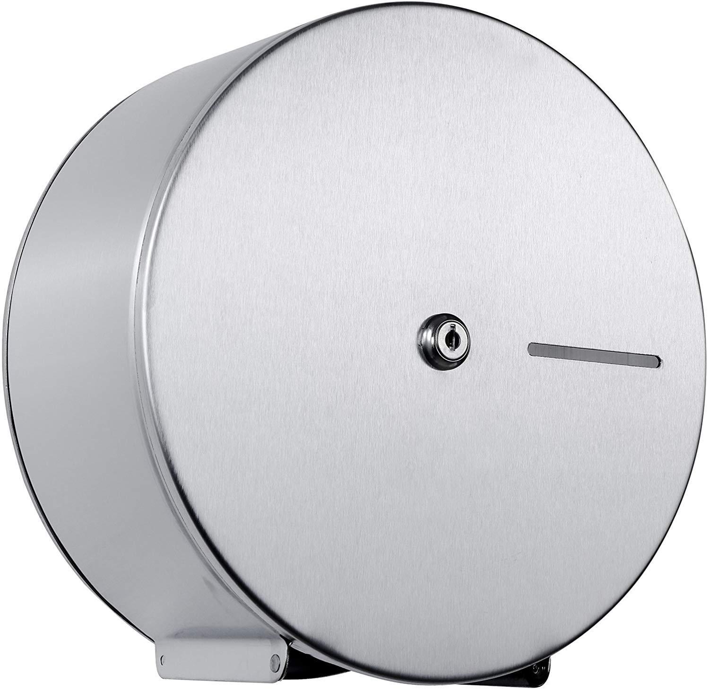 "Pack of 1 - Premium Jumbo Roll Toilet Paper Dispenser - Lockable Design - Premium Grade 304 Stainless Steel - 9"" Roll Capacity"