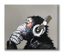 Yatehui Cool Ape Oil Painting on Canvas 100% Hand Painted Pop Art Funny Gorilla Thinking Monkey Listening to Music with Headphone Canvas Wall Art Framed Ready to Hang 24 x 20 Inches