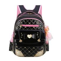 EURO SKY Children School Backpack Bags for Girls Students PU Leather Z-Black L