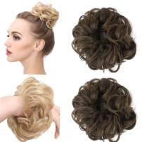 Curly Messy Hair Scrunchies Fake Bun Extensions Dark Brown Elastic Synthetic Hairpiece Hair Piece Scrunchy Curl Wrap Ponytail Tail Accessories H2&2/30