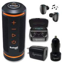 Bushnell Wingman GPS Bluetooth Speaker with Included Wearable4U Ultimate Black Earbuds with Power Bank Case and Wall/Car Chargers Bundle