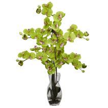 Nearly Natural 1191-GR Phalaenopsis with Vase Silk Flower Arrangement, Green