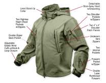 Rothco Special Ops Tactical Soft Shell Jacket, Olive Drab, 6XL