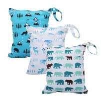 Cloth Diaper Wet Dry Bags Set Waterproof Reusable Dual Zipper for Baby Kids Gym Travel Laundry Swimsuit Towel 3pcs (WB02-Polarbear)