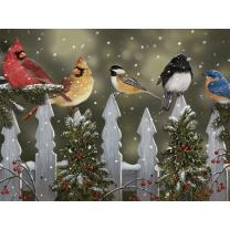 Bits and Pieces - 300 Large Piece Jigsaw Puzzle for Adults - Winter Perch, Birds in The Snow - by Artist William Vanderdasson - 300 pc Jigsaw