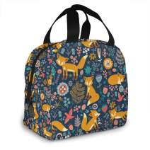 AHOOCUSTOM Lunch Bags Fox Flower Insulated Lunch Box Resuable Cooler Tote Bag Waterproof Lunch Holder for Men & Women Work Picnic Or Travel