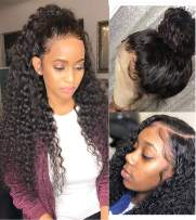 """Luduna Lace Front Wigs Human Hair With Baby Hair 150% Density 9A 100% Uprocessed Wet and Wavy Wigs Preplucked Glueless Deep Curly Lace Front Wigs For Black Women Human Hair (24"""",Natural Color)"""