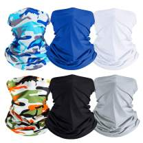 Zacca 6 PCS Summer Face Cover Breathable UV Protection Neck Gaiters Bandana