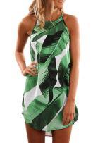 Aleumdr Womens Summer Floral Print Halter Sleeveless Mini Dress
