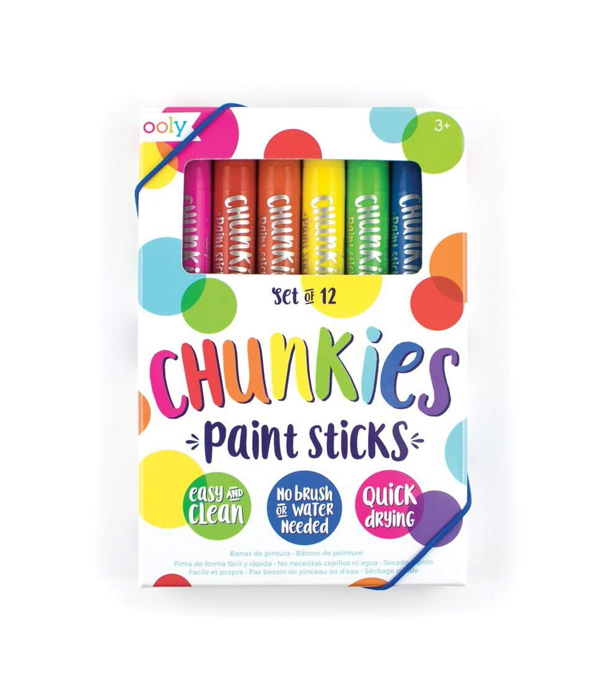 OOLY, Giftable Chunkies Paint Sticks, No Brush or Water Needed - Set of 12
