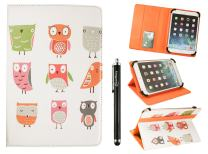 Emartbuy Universal 10-11 Inch Cartoon Owls Multi Angle Folio Wallet Case Cover with Card Slots Orange Elastic Strap and Stylus Pen Compatible with Selected Devices Listed Below