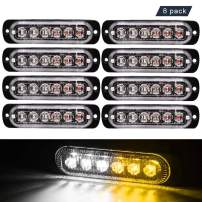 Emergency Strobe Lights, 8-Pack Universal 6 LED 18W Surface Mount Flashing Lights, Warning Hazard Flashing Strobe Light Bar Beacon for off Road Vehicle, ATVs, Truck by JEDEW(Amber/White)
