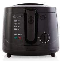 Continental Electric CE23379 Deep Fryer, 2.5 Liter Oil Capacity, Cool Touch Body, Adjustable Temperature, Black