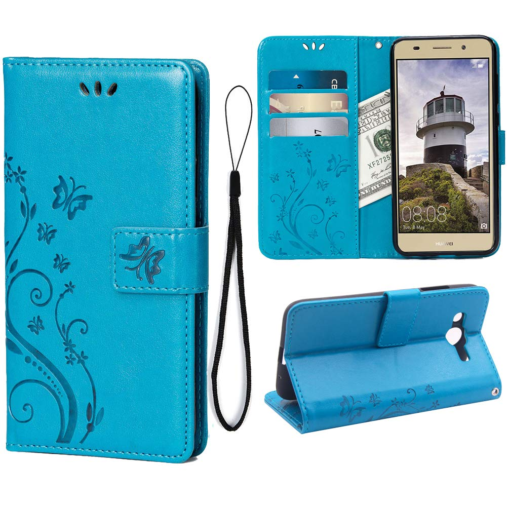 Wallet Case for Huawei Y3 2018, 3 Card Holder Embossed Butterfly Flower PU Leather Magnetic Flip Cover for Huawei Y3 2018(Blue)