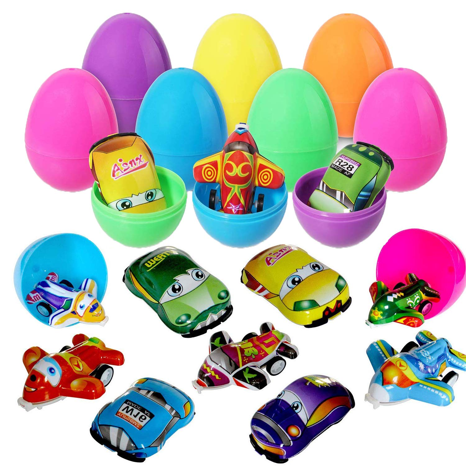 MAIAGO 12Pack Plastic Easter Eggs 3.5 inch, Surprise Easter Eggs Filled with Pull-Back Vehicle and Plane Toys for Easter Hunts, Basket Stuffers, Easter Party Favor