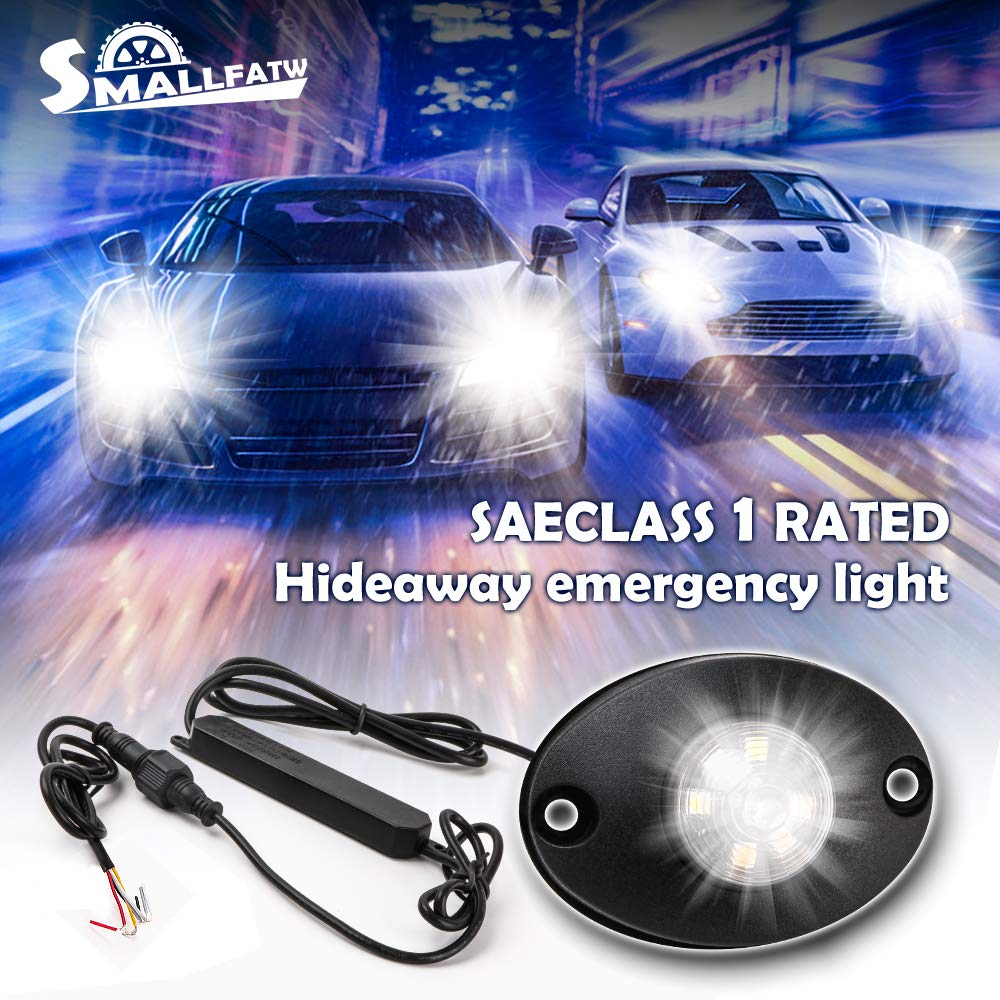 SMALLFATW Led Hideaway Emergency Strobe Lights for Police Fire Construction Vehicle Trucks Cars Waterproof Upgrade Flash Warning Lights - White