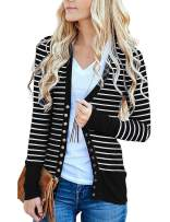 Basic Faith Women's V-Neck Solid Button Tops Long Sleeve Knit Casual Cardigans