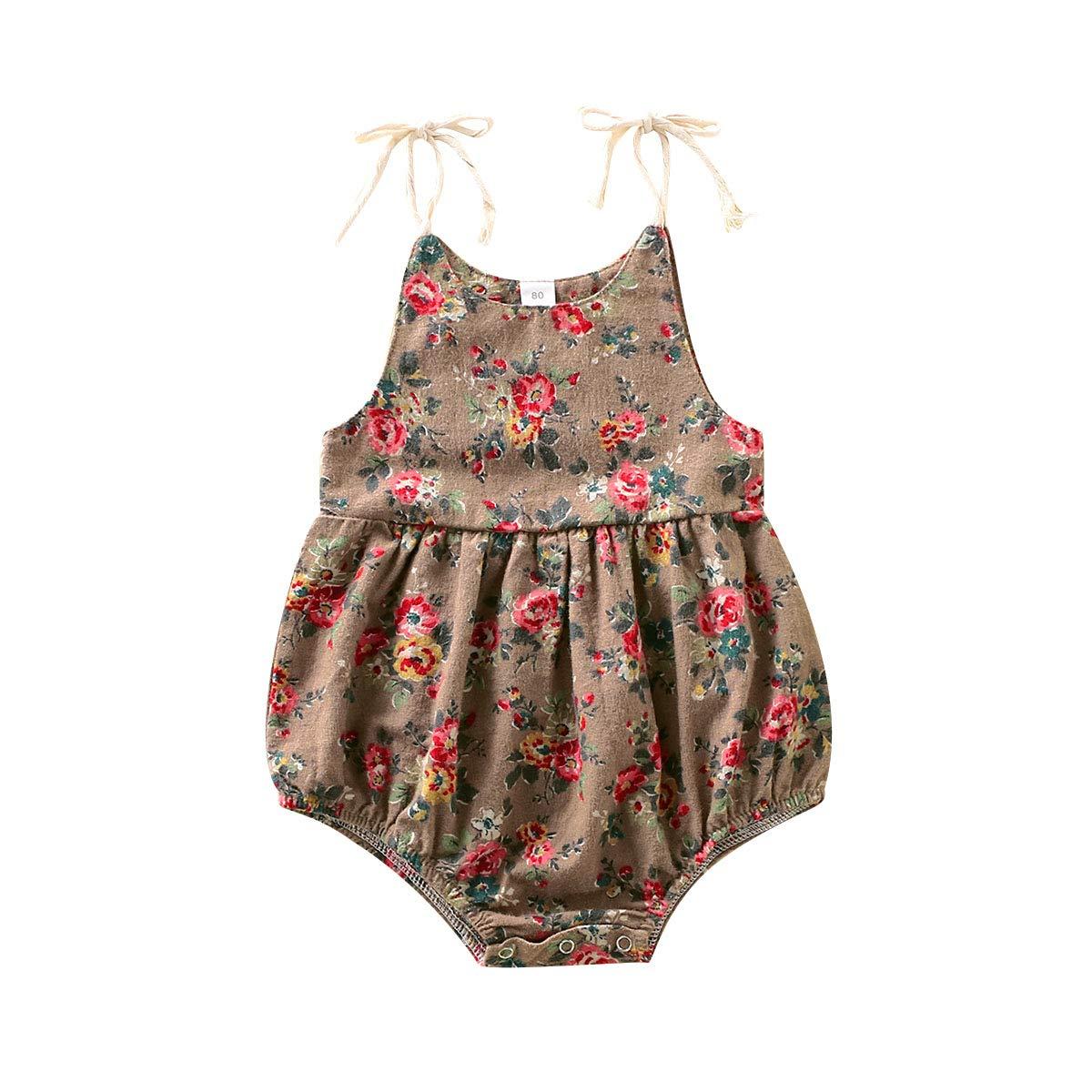 Newborn Infant Baby Girl Clothes Cotton Line Strap Jumpsuit Romper Bodysuit Sunsuit Outfits Set