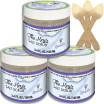 The Keys Salt Scrub : Premium Exfoliating Sea Salt Body Skin Scrubs (Lavender, 3 Pack 3.4 oz)