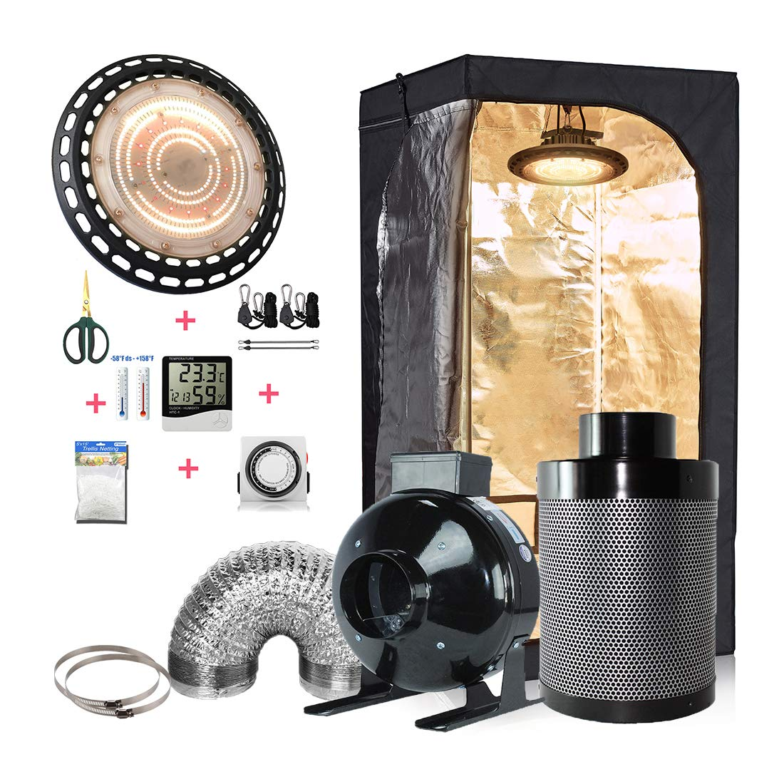 cdmall Grow Tent + 300W LED Real Full Spectrum LED Grow+ 4'' Inline Fan Air Carbon Filter Ventilation Kit Indoor Grow Tent Complete Kit (300W Light+32''x32''x63'' Tent Kit+4''Filter Combo)