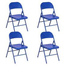 VECELO Metal Frame Steel Folding, Mounted Chairs with Triple Braced & Double Hinged Back for Home Office,Blue, Style 1