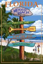 Mexico Beach, Florida - Destinations Sign (16x24 Giclee Gallery Print, Wall Decor Travel Poster)
