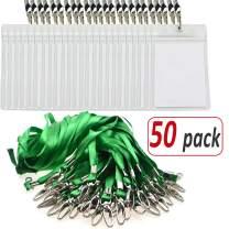 Aobear 50 pcs Top Quality Waterproof Transparent Vertical Name Tag id Badges and 50 pcs Green Lanyard