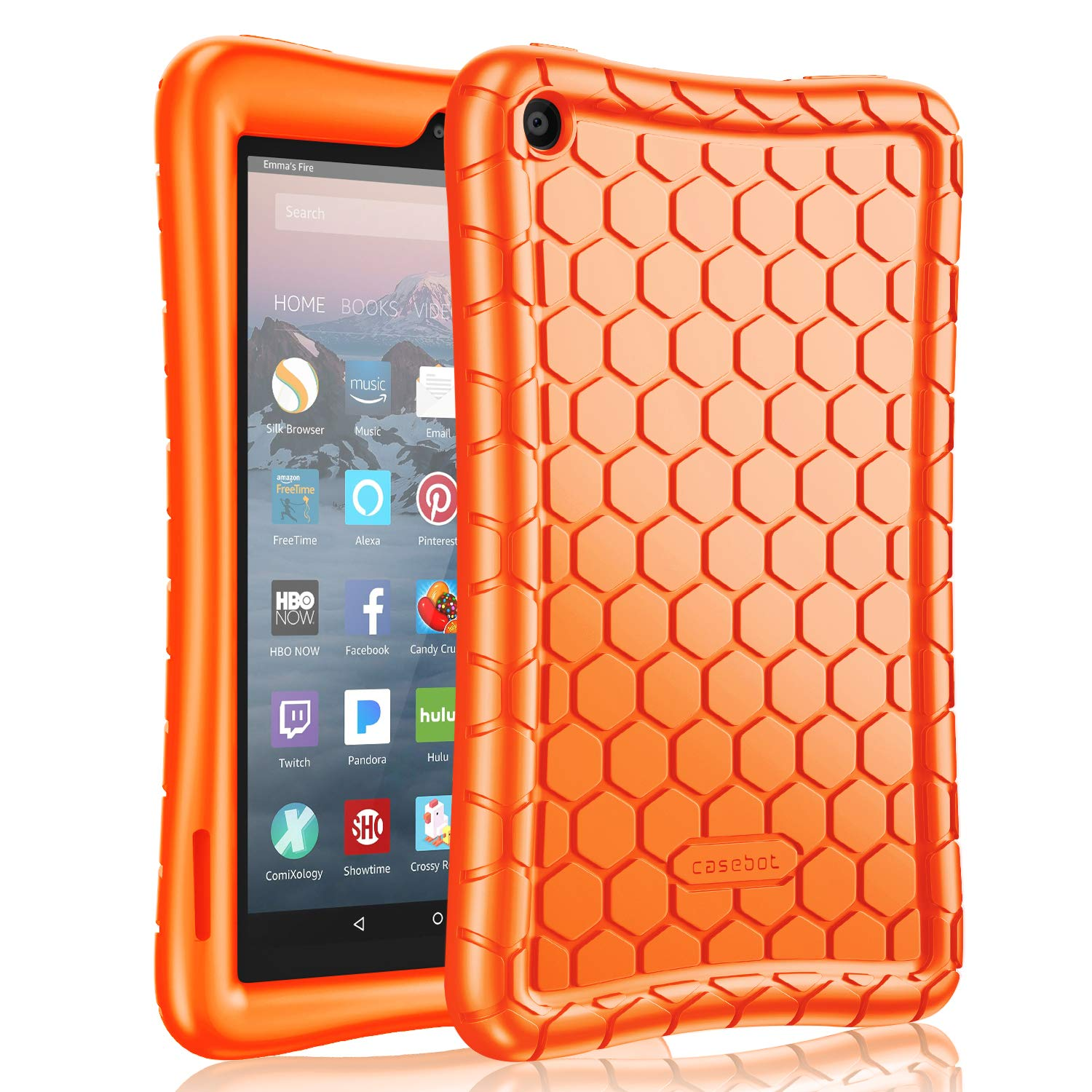Fintie Silicone Case for All-New Amazon Fire 7 Tablet (9th Generation, 2019 Release) - [Honey Comb Series] [Kids Friendly] Light Weight [Anti Slip] Shock Proof Protective Cover, Orange