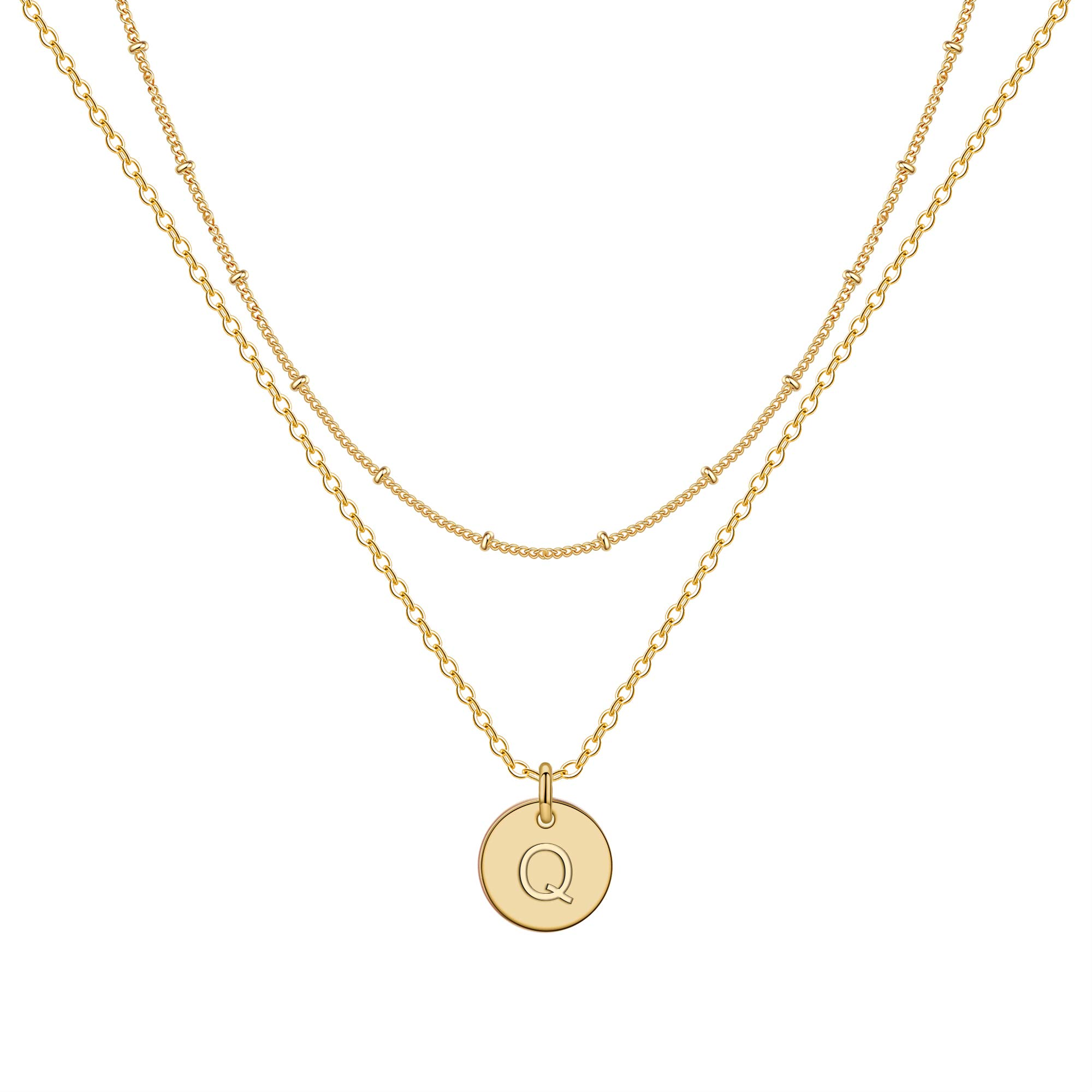 IEFWELL Gold Initial Necklaces for Women,14K Gold Filled Double Side Engraved Hammered Gold Coin Necklaces for Women Initial Necklace Layered Initial Necklaces for Women Teen Girl Jewelry