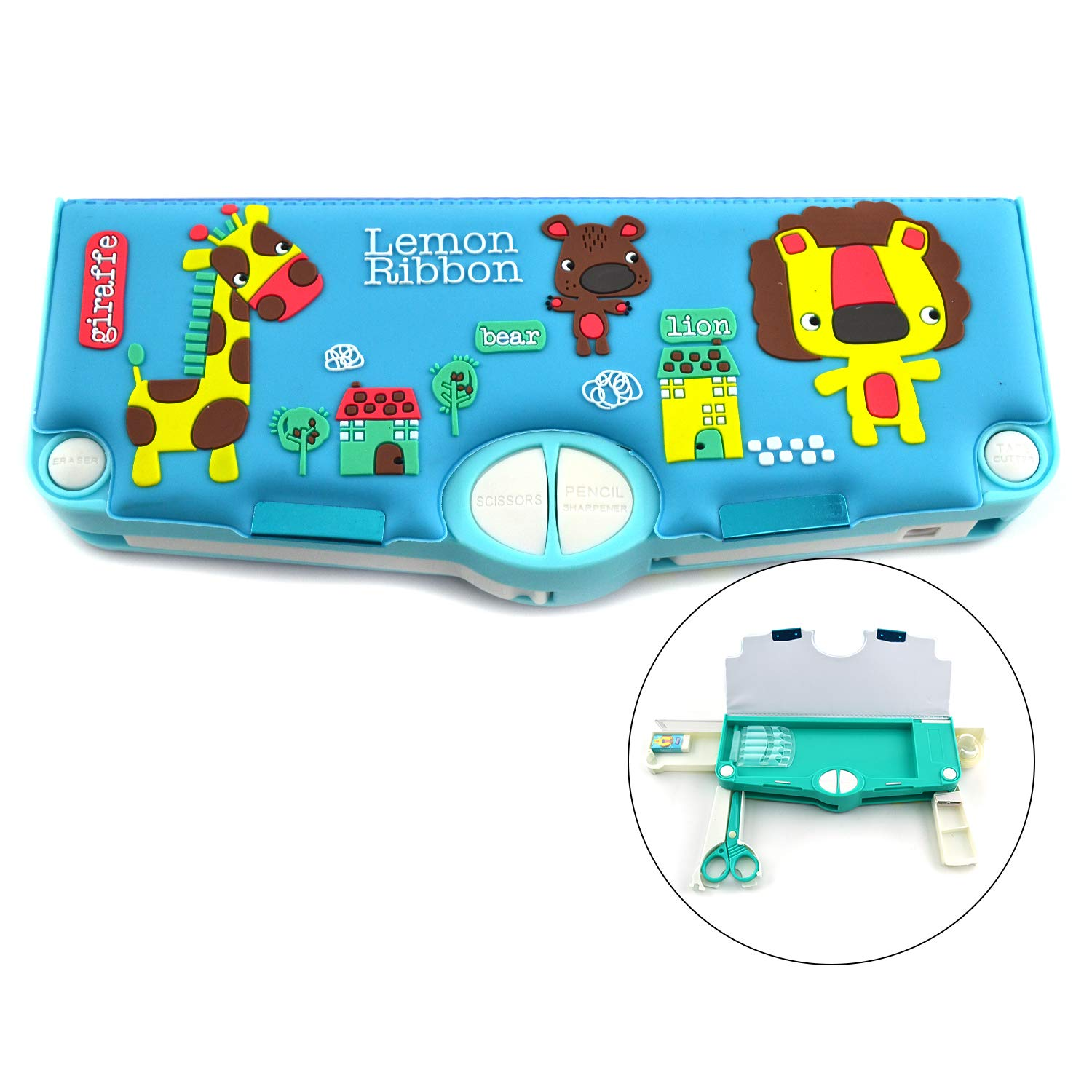 Lemon Ribbon 3D Muli-function Pencil Box:Single sides magnetic Lid With Surface Colored Animal Art And Hardtop Outdoor Waterproof Desktop Rugged Bule Toy Storage Case For kids