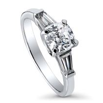 BERRICLE Rhodium Plated Sterling Silver Cushion Cut Cubic Zirconia CZ 3-Stone Anniversary Promise Engagement Ring 1.75 CTW