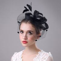 Aukmla Mesh Fascinator Top Hat Billycock Feather Party Hat Derby Hat with Clip Headband for Ladies (7)