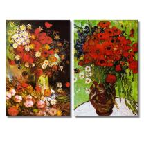 """wall26 - Red Poppies and Daisies/Vase with Poppies, Cornflowers, Peonies and Chrysanthemums by Vincent Van Gogh - Oil Painting Reproduction in Set of 2-16"""" x 24"""" x 2 Panels"""
