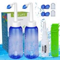 2PCS-Pack Sinus Rinse Bottle with 4 Sprayer + 1 Moisturizing Nasal Pump Sprays - 300ml 10oz Nasal Irrigation - Nasal Rinse Kit - Nose Cleaner - Yoga Neti Pot - for Adult and Child Nose Wash Clean