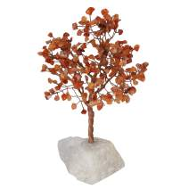 YATHABI Carnelian Copper Wire with Quartz Rough Base Handmade Gemstone Tree Feng Shui Bonsai for Attracting Positive Energies Chakra Balancing Crystal Healing Home Decor Size 10-12 Inch Approx