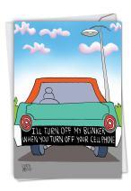 Turn Off Blinker: Hilarious Birthday Greeting Card, with Envelope. C6366BDG