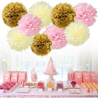 "Tissue Paper Pom Pom Flowers Baby Shower Birthday Wedding Party Decorations 12 pcs Hanging Pom Poms,8"" 10"" Gold Pink Beige"