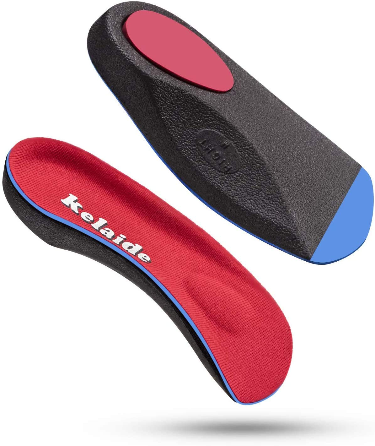 Kelaide Half Length Orthotic Arch Support Insoles for Men & Women, Maximize Heel Comfort, Unisex 7-9, Red
